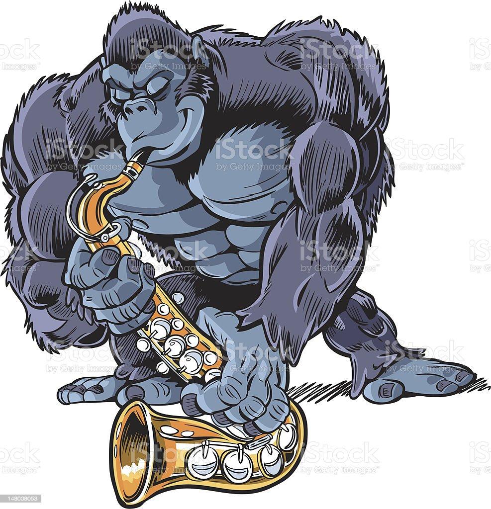 Ilustración de Gorila De Historieta Muscular Tocando El Saxofón y ...