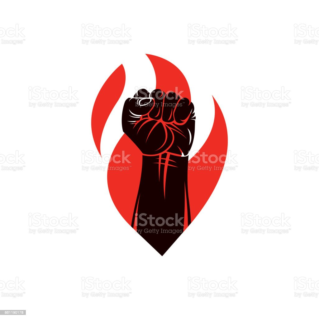 Muscular clenched fist of strong man vector illustration. Martial arts championship abstract symbol.
