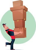 vector illustration of happy muscular courier carrying cartons…