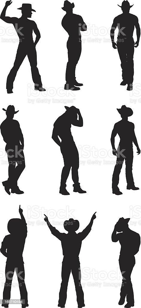Muscular cowboy posing silhouette vector art illustration