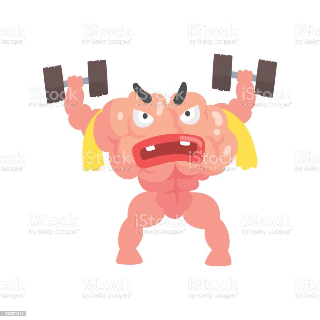 Ilustración de Dibujos Animados Humanizados Muscular Cerebro ...