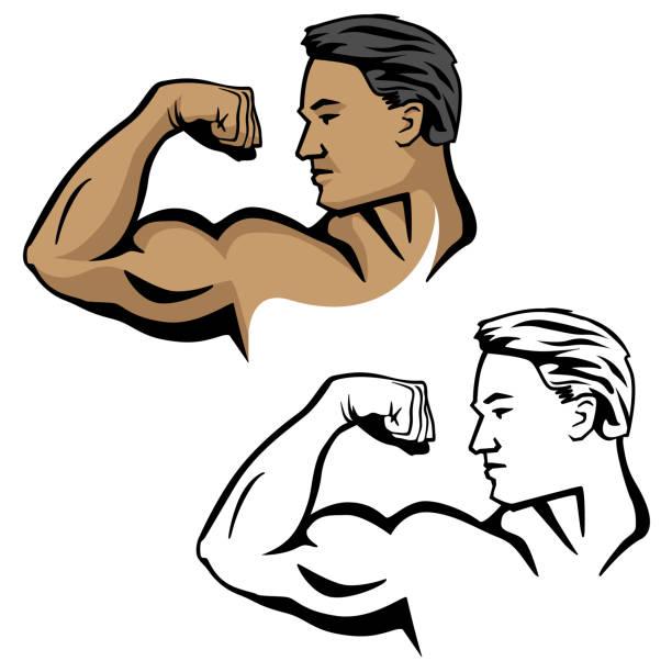 ilustrações de stock, clip art, desenhos animados e ícones de muscular male flexing bicep arm muscle, pose with head sideways, vector illustration - tronco nu