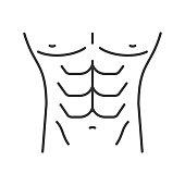 Muscular male torso icon