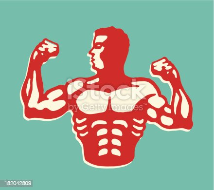 istock Muscular Man Flexing Biceps 182042809