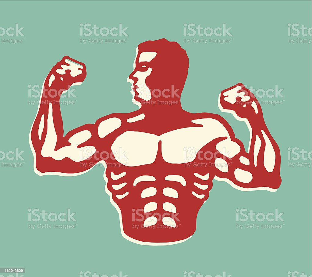 Muscular Man Flexing Biceps vector art illustration