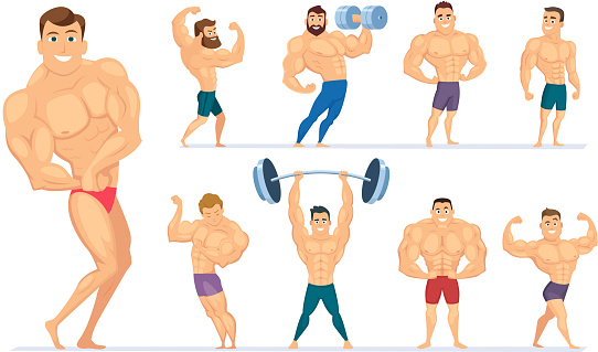 Muscular man. Gym characters sport people making exercises bodybuilders posing muscular athletes