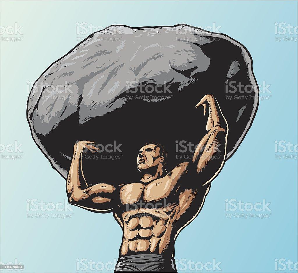 Muscular man lifting up Rock royalty-free muscular man lifting up rock stock vector art & more images of bicep