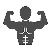 Muscular man line and solid icon. Bodybuilder fitness model with muscles symbol, outline style pictogram on white background. Healthy lifestyle sign for mobile concept and web design. Vector graphics