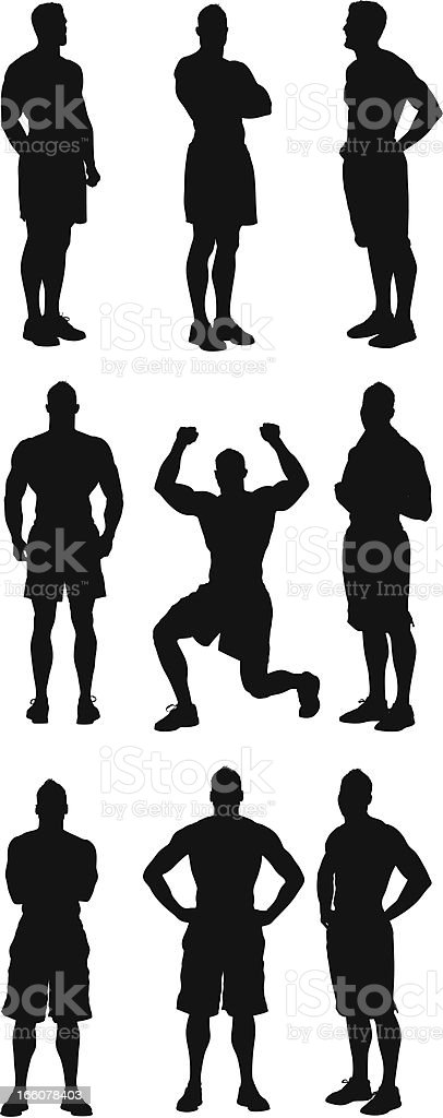 Muscular man standing in different poses royalty-free stock vector art