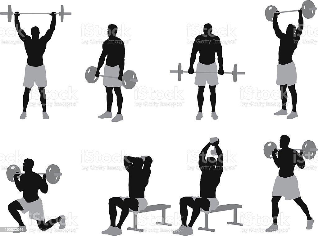 Muscular man weightlifting royalty-free stock vector art