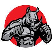 vector of muscular rhino fighting pose