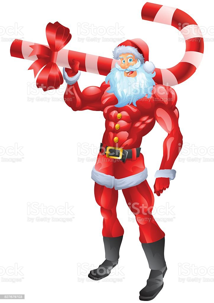 Muscular Santa Claus holding candy cane vector art illustration