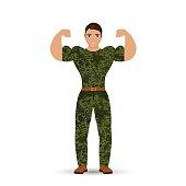 Muscular soldier. Vector illustration.
