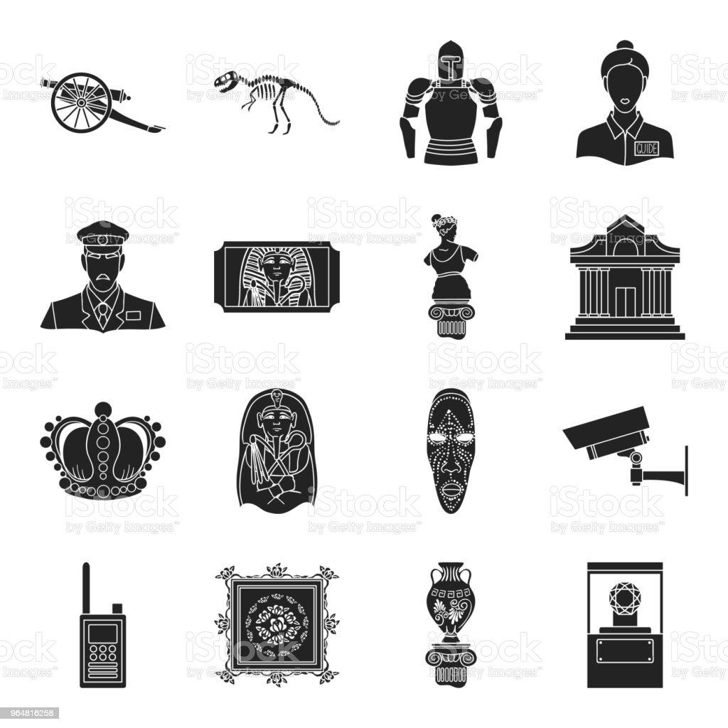 Museum and gallery black icons in set collection for design. Storage and exhibition of showpiece vector symbol stock web illustration. vector art illustration