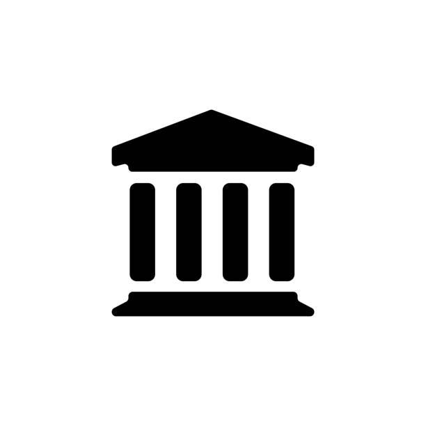 illustrations, cliparts, dessins animés et icônes de musée / cour / banque icône - museum