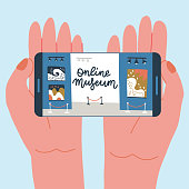 istock Museum exhibit online concept. Contemporary art gallery. Hands with phone with exibition app on screen. Colorful vector flat illustration with lettering. Home hobby for self isolation. 1218029442