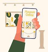 istock Museum exhibit online concept. 1218569335