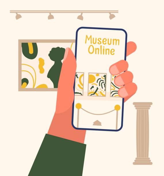 illustrations, cliparts, dessins animés et icônes de concept en ligne d'exposition de musée. - museum