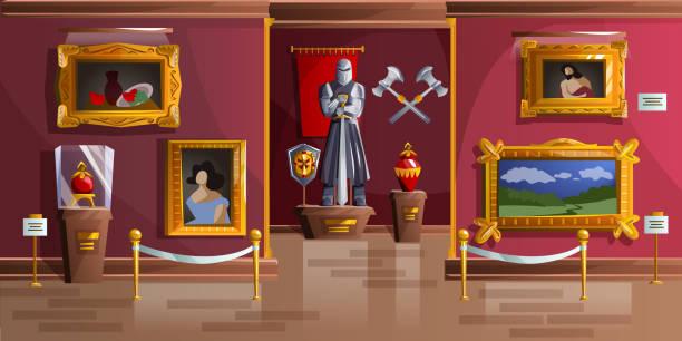 ミュージアム展示室 漫画ベクトルイラスト - 美術館点のイラスト素材/クリップアート素材/マンガ素材/アイコン素材