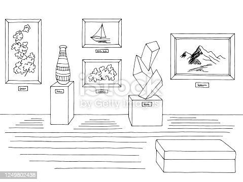 Museum graphic black white interior sketch illustration vector