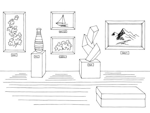 illustrations, cliparts, dessins animés et icônes de vecteur d'illustration d'intérieur blanc noir de musée - museum