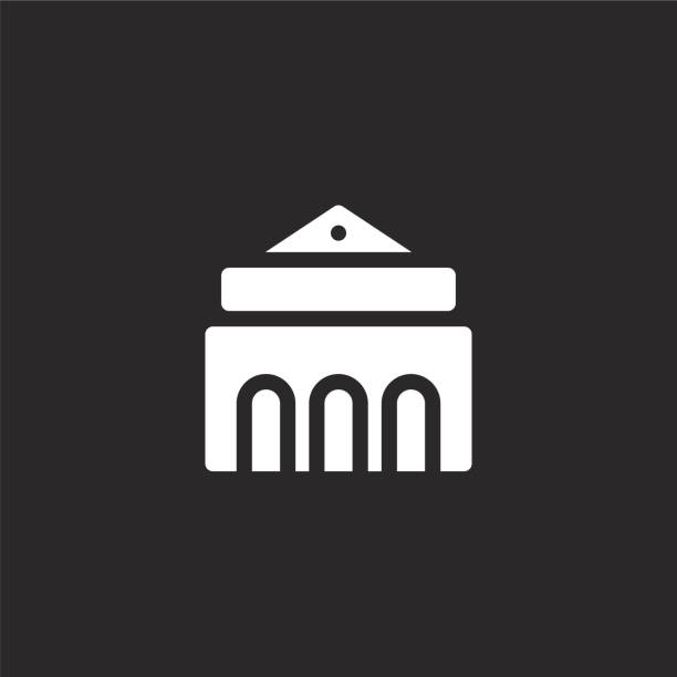 museum icon. Filled museum icon for website design and mobile, app development. museum icon from filled urban building collection isolated on black background. museum icon. Filled museum icon for website design and mobile, app development. museum icon from filled urban building collection isolated on black background. college fair stock illustrations