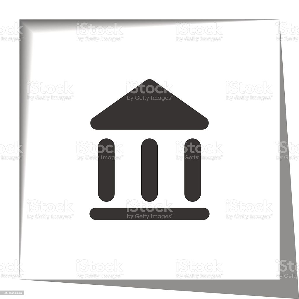 Museum icon with cut out shadow effect vector art illustration