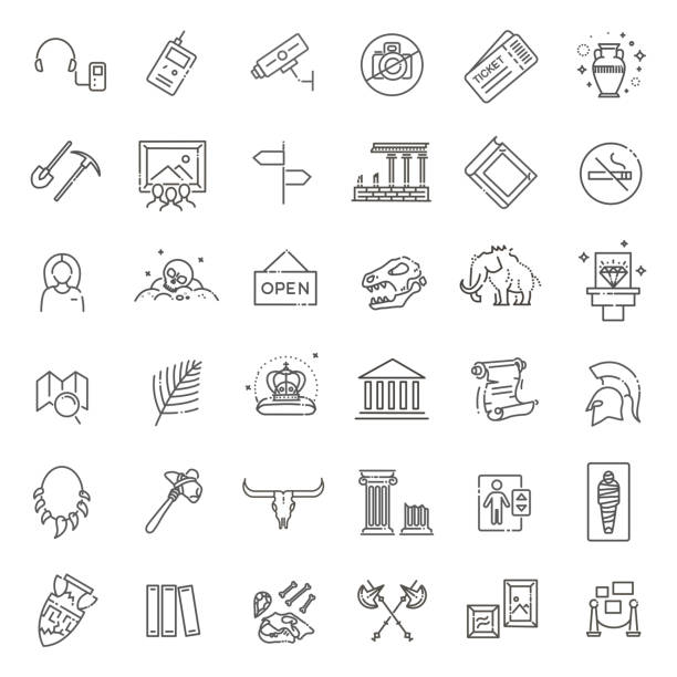 Museum-Symbole festgelegt. Museum zeigt eine Sammlung. Dünne Liniendesign – Vektorgrafik