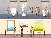 Museum interiors with visitors looking at exhibits vector illustration. Gallery tour and culture museum, exhibit interior artistic