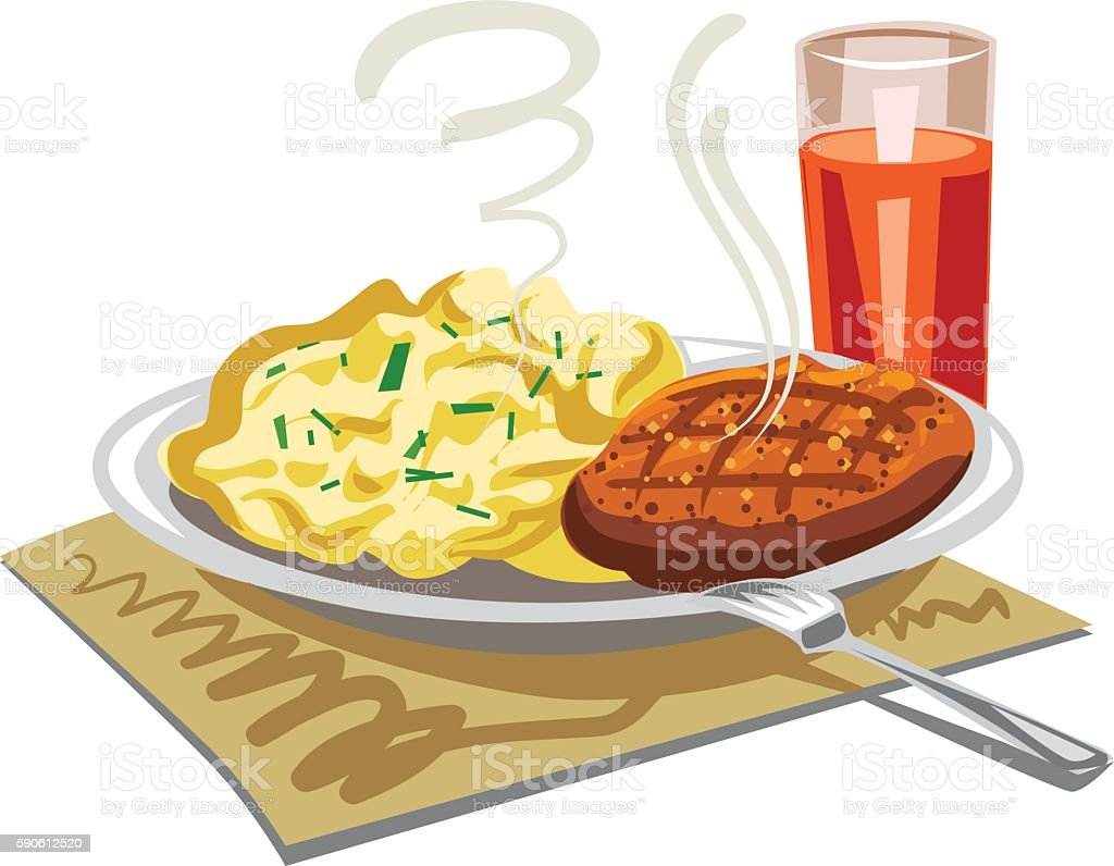 mushed potatoes with cutlet vector art illustration