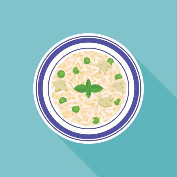 pilzen und erbsen risottoreis - risotto stock-grafiken, -clipart, -cartoons und -symbole