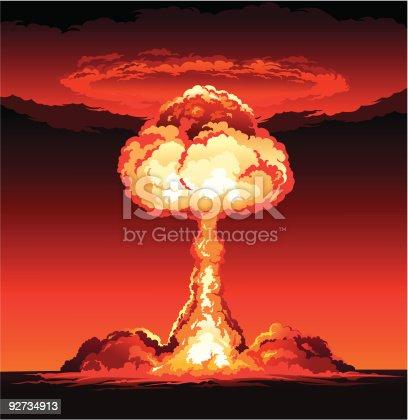 Mushroom cloud of nuclear explosion.