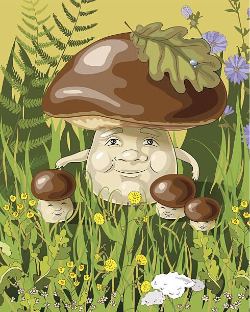bildbanksillustrationer, clip art samt tecknat material och ikoner med mushroom family - höst plocka svamp