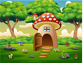 Mushroom house in the forest background