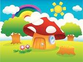 Mushroom house on outskirts.
