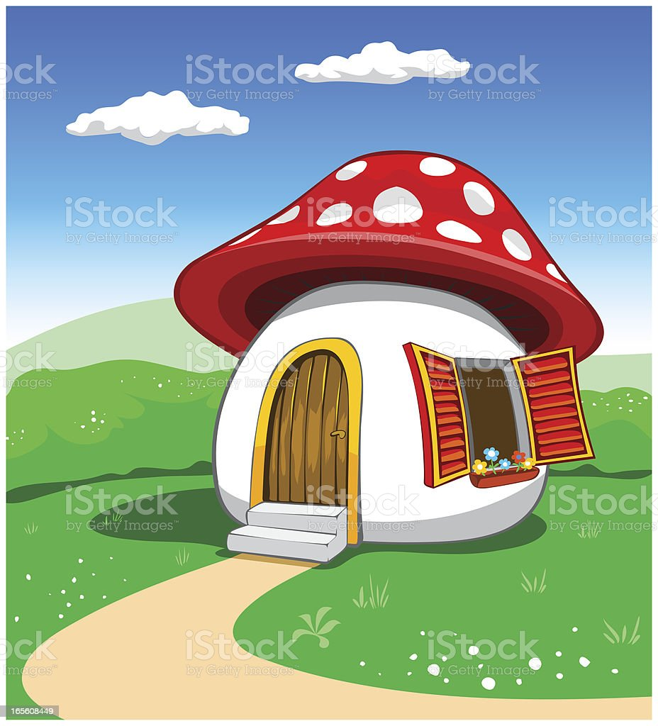 mushroom house vector art illustration