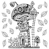 Mushroom house, terrace, chimney and satellite. Doodle and tangle style. Hand drawn coloring book. Vector illustration.