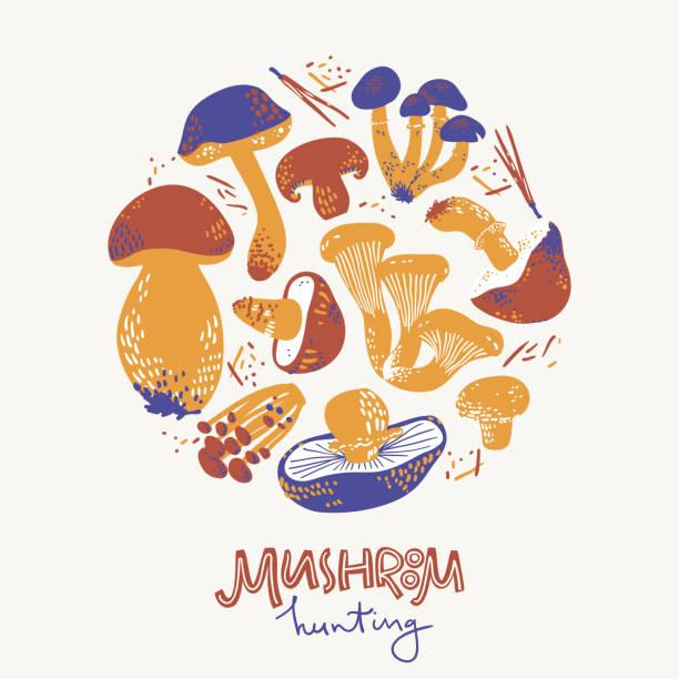 Illustration ronde de hunring de champignon. Linocut vieux style. Illustration de vecteur dessinée à la main - Illustration vectorielle