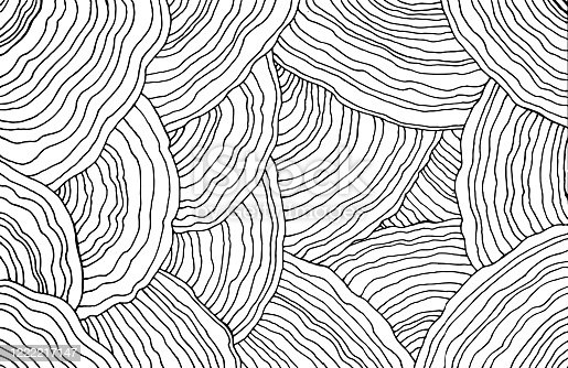 Mushroom pattern. Forest floral texture. Wavy doodle line art. Adult coloring page. Abstract pattern with ornaments. Vector illustration.