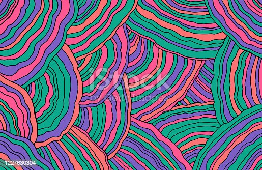 istock Mushroom pattern. Forest floral texture. Wavy doodle line art. Pastel and neon colors. Bright background. Abstract pattern with ornaments. Vector illustration 1227630304