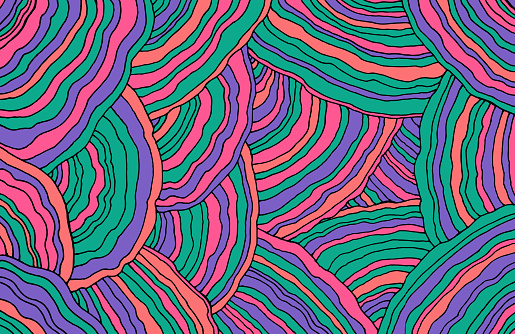 Mushroom pattern. Forest floral texture. Wavy doodle line art. Pastel and neon colors. Bright background. Abstract pattern with ornaments. Vector illustration