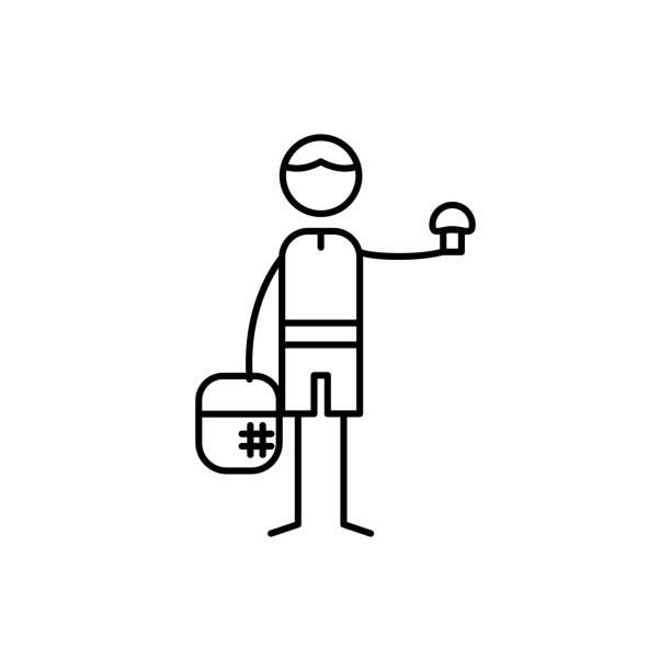 bildbanksillustrationer, clip art samt tecknat material och ikoner med svamp väljaren ikonen. inslag av mänskliga hobbies ikonen för mobila koncept och web apps. tunn linje svamp väljaren ikonen kan användas för webb och mobil - höst plocka svamp