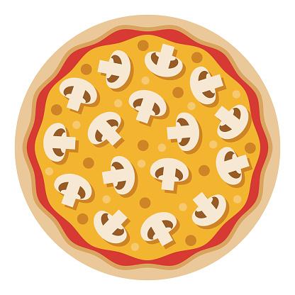 Mushroom Pizza Icon on Transparent Background