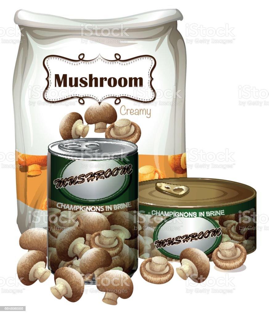 Mushroom products in differnt packages mushroom products in differnt packages - immagini vettoriali stock e altre immagini di barattolo di alluminio royalty-free