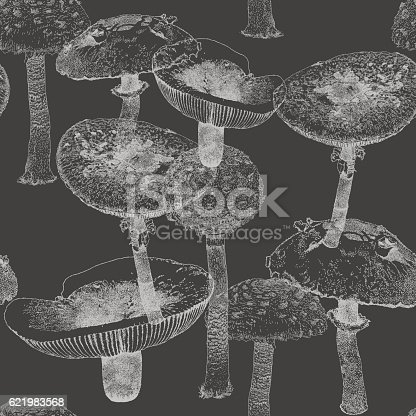 Mushroom vector seamless repeat. All colors are layered and grouped separately.