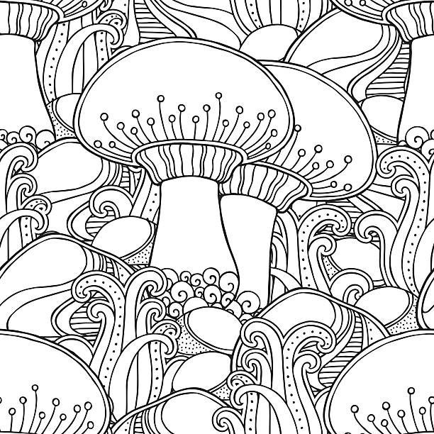 mushroom seamless pattern Seamless pattern in doodle style. Floral, ornate, decorative, tribal, forest vector design elements. Black and white background. Grass, rocks, mushroom. hand drawn coloring book page mistery stock illustrations