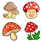 Funny and cute mushroom set - vector.