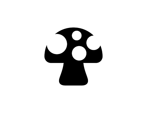 Mushroom vector icon. Fresh vegetable flat isolated