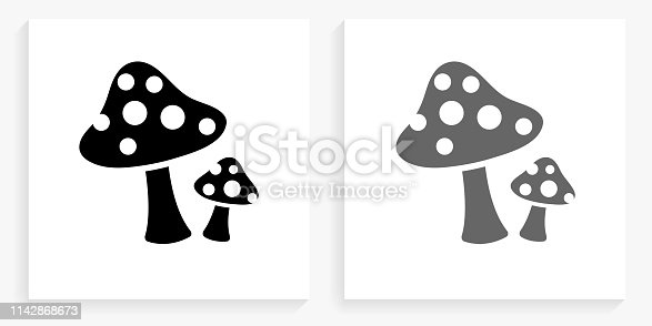 Mushrooms Black and White Square Icon. This 100% royalty free vector illustration is featuring the square button with a drop shadow and the main icon is depicted in black and in grey for a roll-over effect.