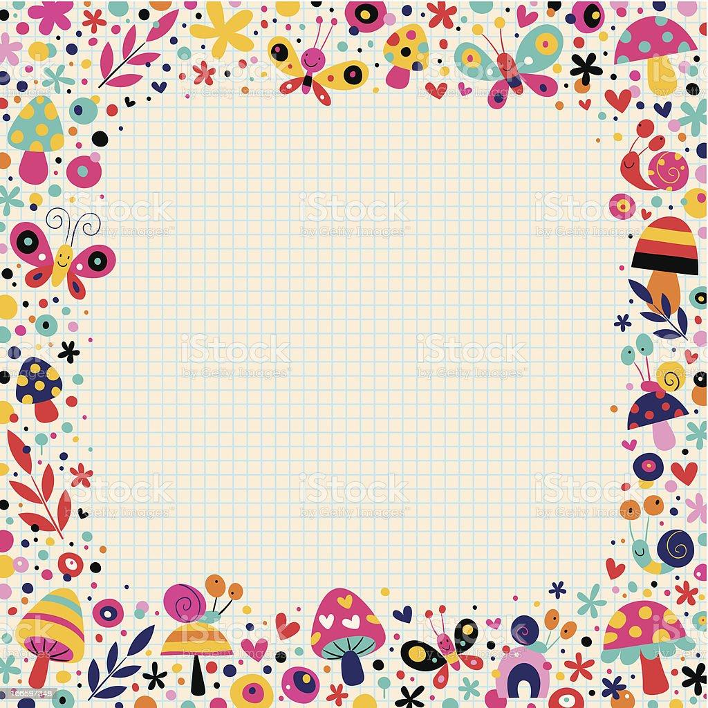 mushrooms, butterflies, snails, flowers border royalty-free stock vector art